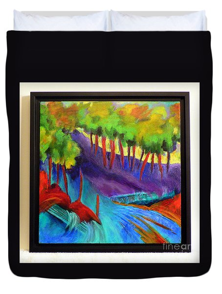 Duvet Cover featuring the painting Grate Mountain by Elizabeth Fontaine-Barr