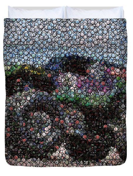 Grave Digger Bottle Cap Mosaic Duvet Cover by Paul Van Scott