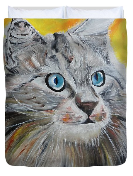 Gray Cat Duvet Cover by PainterArtist FIN