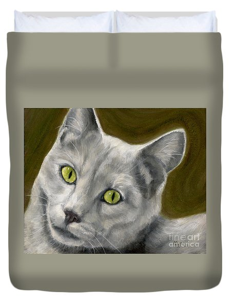 Gray Cat With Green Eyes Duvet Cover by Amy Reges