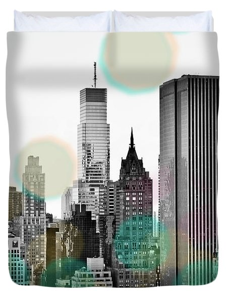 Gray City Beams Duvet Cover by Susan Bryant