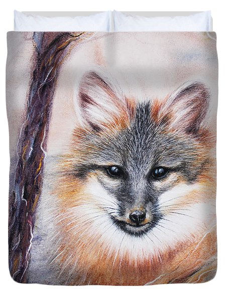 Duvet Cover featuring the drawing Gray Fox by Patricia Lintner