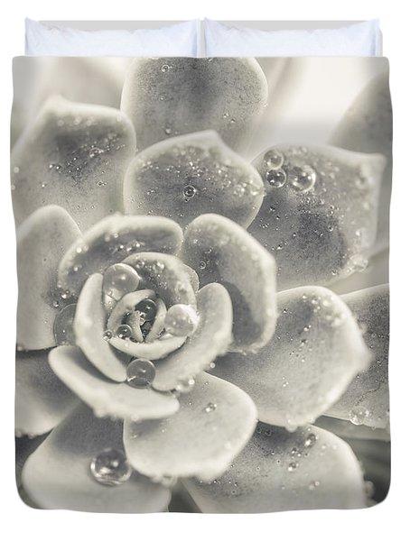 Gray Succulent Duvet Cover
