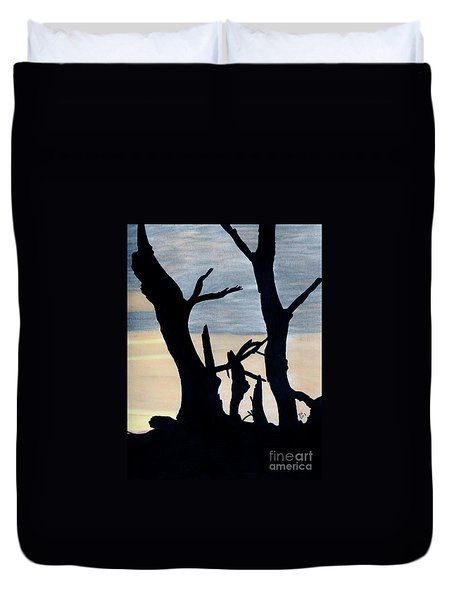 Duvet Cover featuring the drawing Gray Sunset by D Hackett