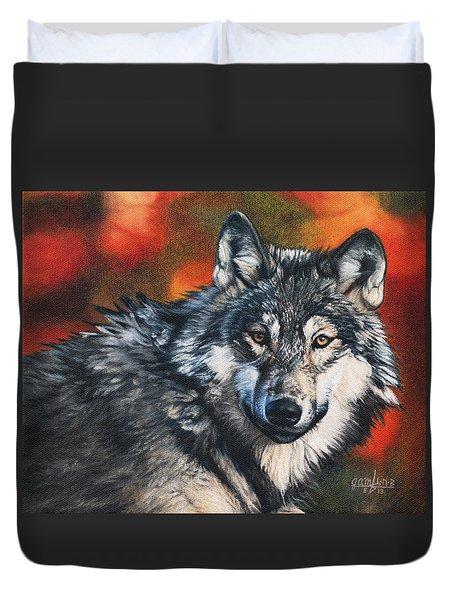 Gray Wolf Duvet Cover by Joshua Martin