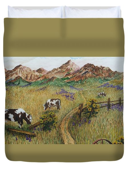 Grazing Cows Duvet Cover by Katherine Young-Beck
