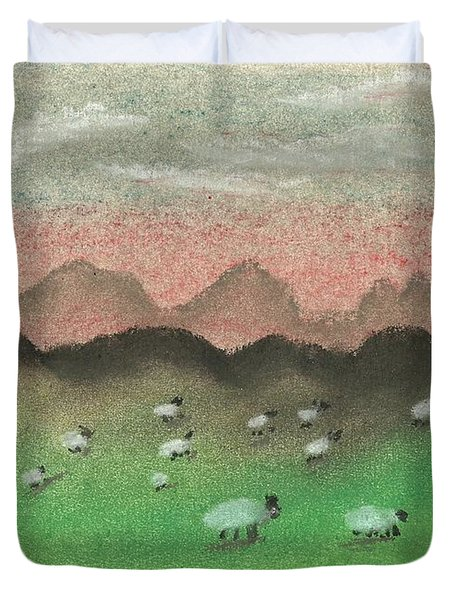 Grazing In The Hills Duvet Cover by Tracey Williams