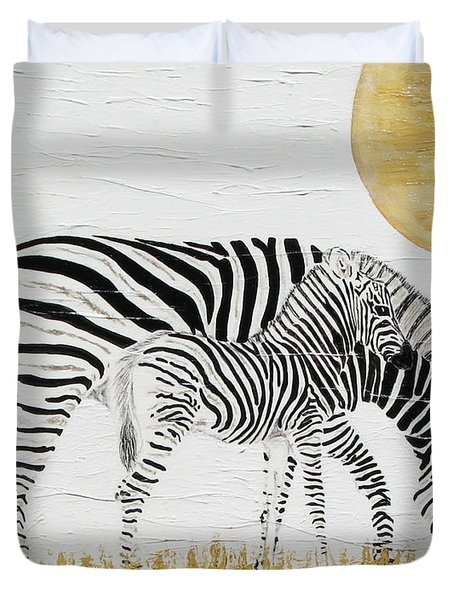 Duvet Cover featuring the painting Grazing Together by Stephanie Grant
