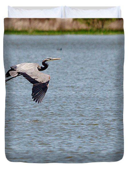 Great Blue Chased By A Grackle Duvet Cover by Roy Williams