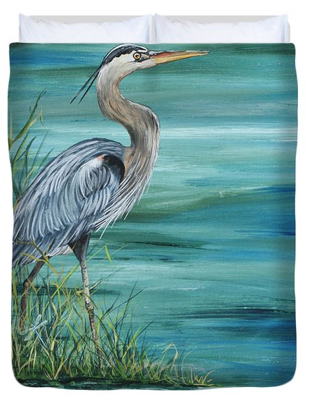 Great Blue Heron  2 Duvet Cover by Jean Plout