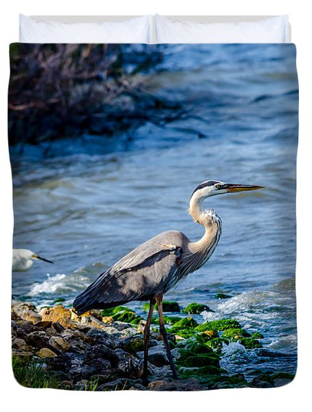 Great Blue Heron And Snowy Egret At Dinner Time Duvet Cover