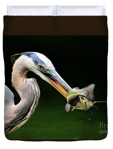 Duvet Cover featuring the photograph Great Blue Heron And The Catfish by Kathy Baccari