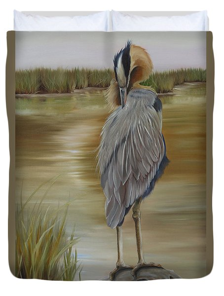 Great Blue Heron At Half Moon Island Duvet Cover by Phyllis Beiser
