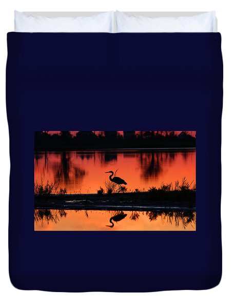 Great Blue Heron At Sunrise Duvet Cover by Allan Levin