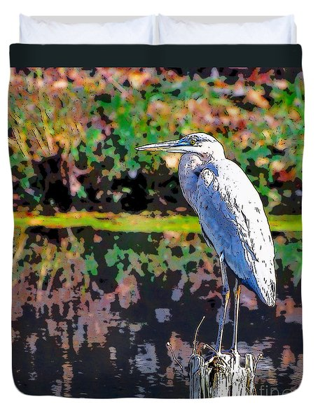 Great Blue Heron At The Pond Duvet Cover