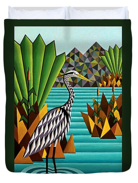 Great Blue Heron Duvet Cover by Bruce Bodden