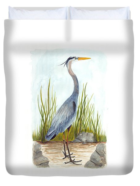 Great Blue Heron Duvet Cover by Cindy Hitchcock