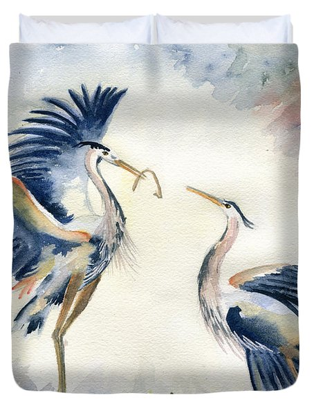 Great Blue Heron Couple Duvet Cover