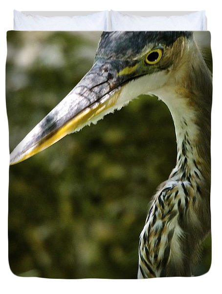 Great Blue Heron Duvet Cover by Dee Dee  Whittle