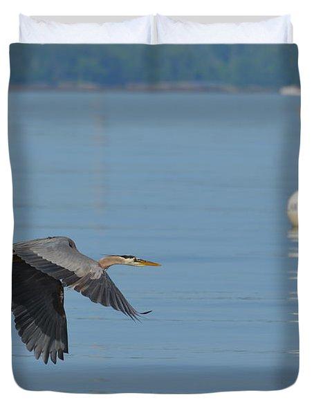 Great Blue Heron  Duvet Cover by DejaVu Designs