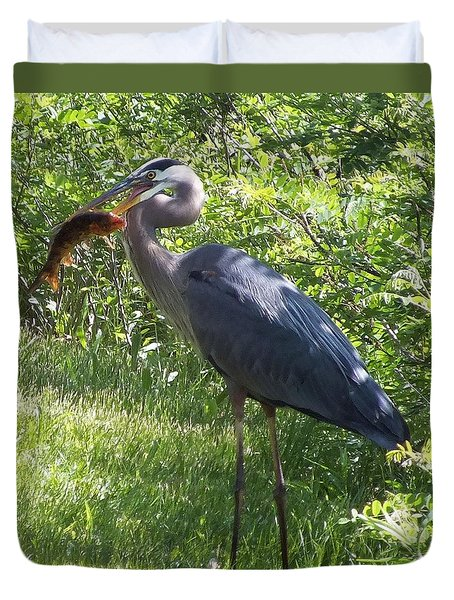 Great Blue Heron Grabs A Meal Duvet Cover by Christina Shaskus
