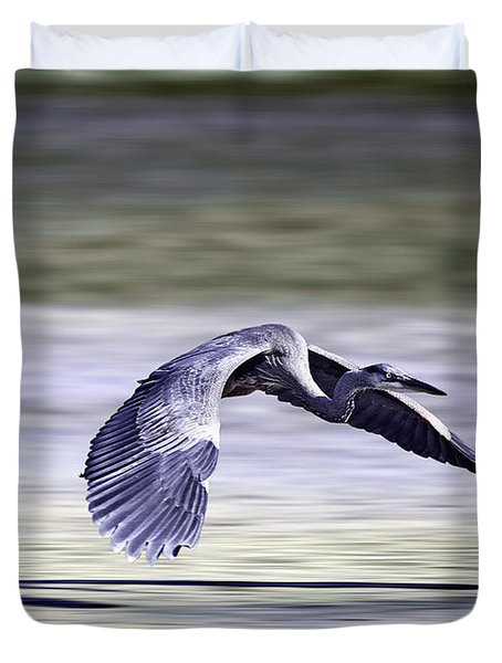 Great Blue Heron In Flight Duvet Cover by John Haldane