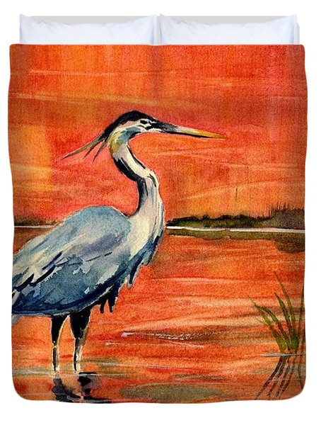 Great Blue Heron In Marsh Duvet Cover