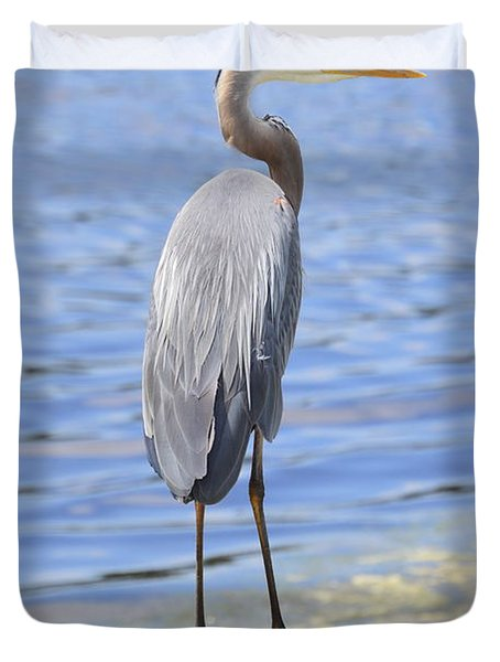 Duvet Cover featuring the photograph Great Blue Heron by Judith Morris