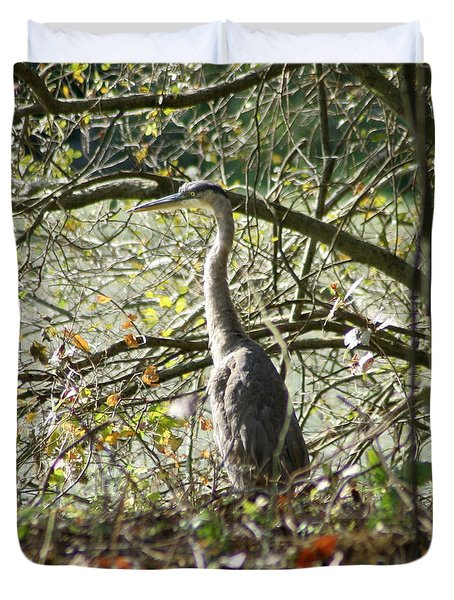 Duvet Cover featuring the photograph Great Blue Heron by Karen Silvestri