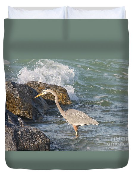 Great Blue Heron On The Prey Duvet Cover by Christiane Schulze Art And Photography