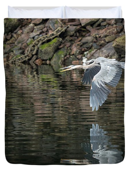 Great Blue Heron Reflections Duvet Cover