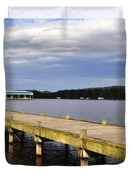 Great Blue Heron Sunning On The Dock Duvet Cover