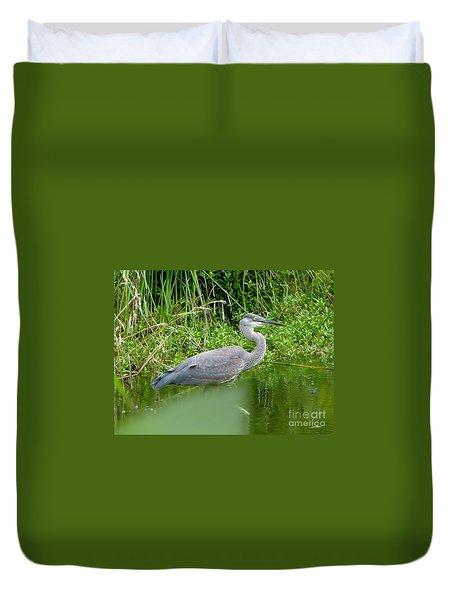 Duvet Cover featuring the photograph Great Blue Heron  by Susan Garren