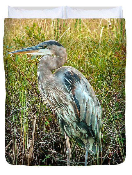 Great Blue Heron Waiting For Supper Duvet Cover by Eti Reid
