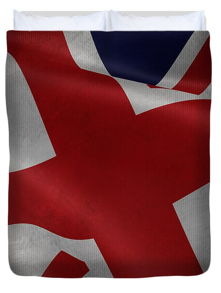 Great Britains Flag Waving On Canvas Duvet Cover