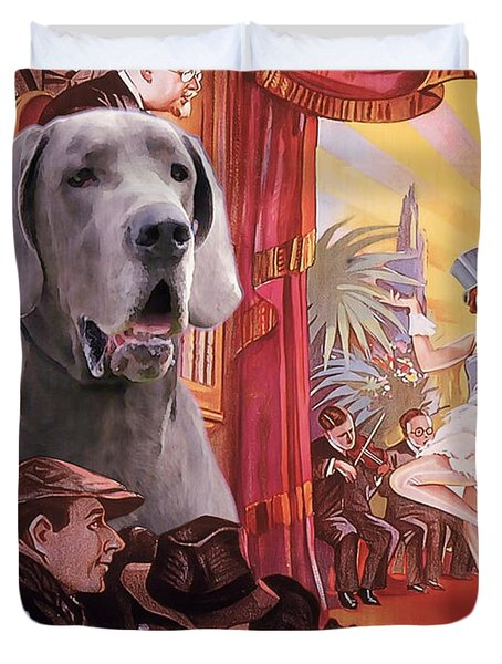 Great Dane Art Canvas Print - Der Blaue Engel Movie Poster Duvet Cover