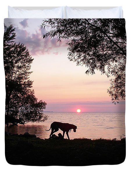 Duvet Cover featuring the photograph Great Dane Sunset by Aimee L Maher Photography and Art Visit ALMGallerydotcom