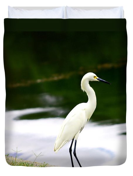 Duvet Cover featuring the photograph Great Egret by Debra Forand