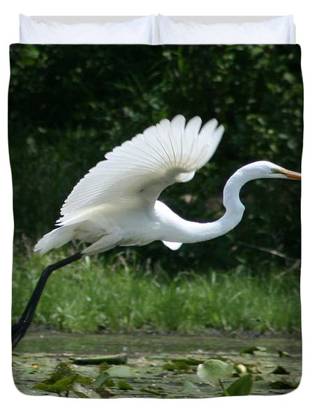 Great Egret Elegance   Duvet Cover by Neal Eslinger