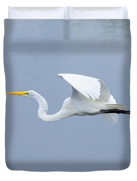 Duvet Cover featuring the photograph Great Egret In Flight by John M Bailey
