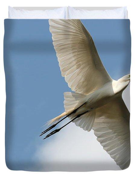 Great Egret Overhead Duvet Cover by Carol Groenen