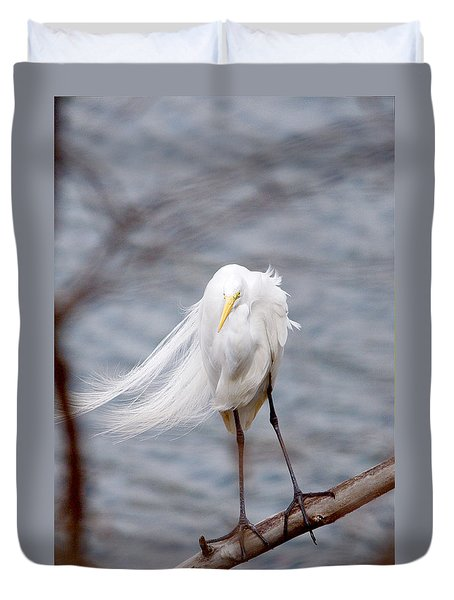 Great Egret Windy Portrait Duvet Cover
