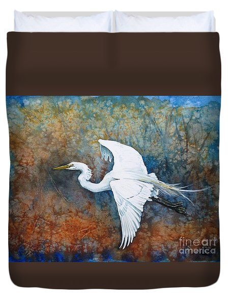 Great Egret  Duvet Cover by Zaira Dzhaubaeva