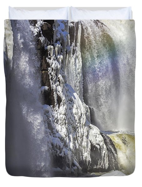 Great Falls And A Rainbow Duvet Cover