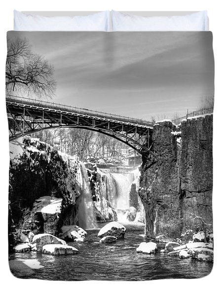 Great Falls In The Winter Duvet Cover