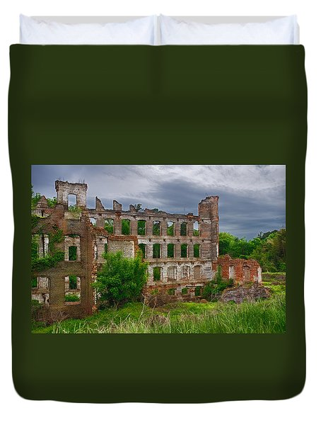 Great Falls Mill Ruins Duvet Cover