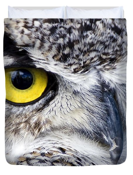 Great Horned Closeup Duvet Cover by Dee Cresswell