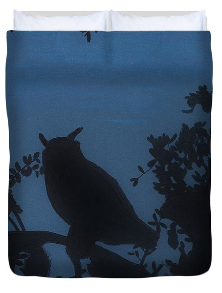 Duvet Cover featuring the drawing Owl At Night by D Hackett