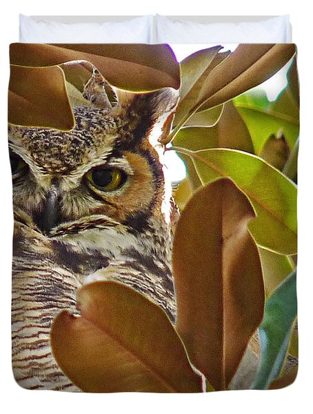 Duvet Cover featuring the photograph Great Horned Owl by Meghan at FireBonnet Art