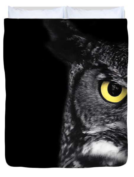 Great Horned Owl Photo Duvet Cover by Stephanie McDowell